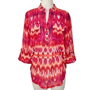 Cocomo pink orange women's blouse split neck